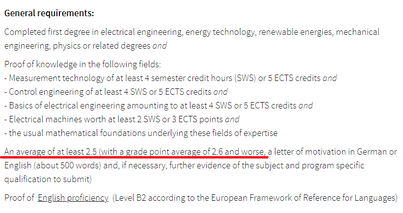 Hi everyone,I want to apply for MS Renewable Energy and my German CGPA is 2.7, Am I eligible for this program acc.to criteria in the image.Please guid